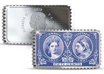 This 1oz Silver Proof coin has been issued by the Royal Canadian Mint to mark the 200th anniversary of Queen Victoria's birth. The design isstamp inspired, and commemorates her Diamond Jubilee.