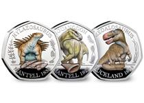 This collection includes all three Dinosaur 50ps issued by The Royal Mint in 2020. Each coin is struck from silver to a proof finish with colour printing and individually presented in TRM packaging