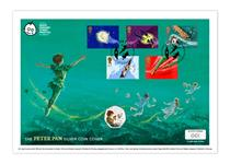 The Peter Pan Silver Coin Cover features the Isle of Man 2020 Peter Pan Silver Proof 50p, alongside Royal Mail stamps: Captain Hook, Crocodile and The Darlings' First Flight, with special postmark.