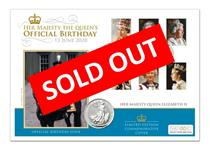 This coin cover features a UK 2020 Silver Britannia £2 coin with 6 2013 Royal Portraits stamps from Royal Mail. Postmarked on the Queen's Official Birthday - Trooping the Colour, 13 June 2020