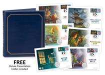 The Peter Pan Complete Cover Collection includes all 6 Peter Pan Coin and Stamp covers, each featuring an official Peter Pan 50p coin alongside a specially commissioned Philatelic Label and postmark.