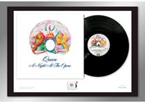 Limited Edition A2 Presentation Frame comprising a pristine, unplayed A Night at the Opera vinyl album & Royal Mail's 2020 A Night at the Opera stamp. Comes professionally framed and ready to hang.