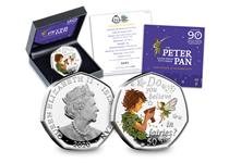 The 2020 Peter Pan Silver Proof 50p features an illustration of Peter Pan and Tinkerbell along with the quote 'Do you believe in fairies?', created by David Wyatt. The coin is struck from .925 silver