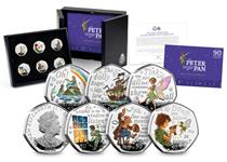 The 2020 Peter Pan Silver Proof 50p Set includes 6 coins each featuring a different character along with a quote from the book. The coins are struck from .925 Silver with selecive coloured ink.