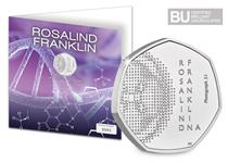 This exclusive Change Checker Display Card houses the UK 2020 Rosalind Franklin 50p, which has been protectively encapsulated in Change Checker CERTIFIED BU Packaging, ready to display.