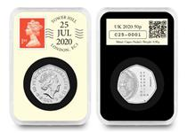 This UK 2020 DateStamp Issue features the Rosalind Franklin 50p issued by the Royal Mint. Postmarked 25th July to mark the 100th anniversary of her birth. Comes protectively encapsulated with CoA.