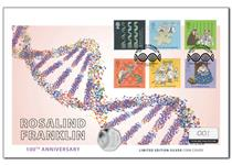 This cover brings together The Royal Mint's UK 2020 Rosalind Franklin Silver Proof 50p & Royal Mail's Secret of Life & Molecular Structures stamps, postmarked with the 100 year anniversary, 25.07.20