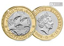 This £2 coin was issued to mark the 400th anniversary of the Mayflower's pioneering voyage. This £2 has been protectively encapsulated and certified as Brilliant Uncirculated quality.