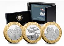 2020 marks the 80th Anniversary of the Battle of Britain. This set features 3 £2 coins each inspired by a line from Churchill's Wartime Speech 'The Few'. Each coin has a symbolic image.