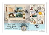 The Captain Cook UK Stamp and Coin Cover presents The Royal Mint's 2020 Captain Cook BU £2 coin alongside the 2018 Captain Cook stamps and Miniature sheet. Postmarked 26.08.20