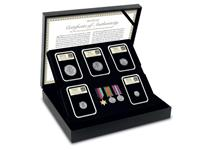 This DateStamp includes 5 circulating silver coins from WWII, each has been postamrked with the official 75th Anniversary date of the official end of WWII. Also included are replica WWII war medals.