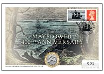 Your Mayflower Commemorative Coin Cover presents The Royal Mint's 2020 Mayflower £2 coin in a BU condition alongside a Royal Mail Specially Commissioned Philatelic Label.