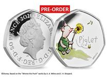 The official Piglet issued by The Royal Mint. Struck from silver to proof finish. Features colour image of Piglet. Comes in presentation box with numbered certificate of authenticity. EL 18,000.