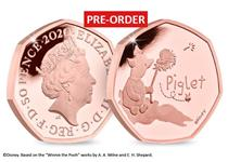 The official Piglet 50p issued by The Royal Mint. Struck from 22 carat gold to a proof finish. It comes presented in Royal Mint presentation box with numbered certificate of authenticity. EL 525.