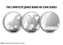 All three James Bond 1oz Silver Proof coins issued by The Royal Mint in the 007 series. Struck from .999 Silver to a Proof finish. Comes in Royal Mint presentation case. EL of each coin is 7,007.