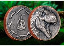 This coin features brand new bi-metal technology. Featuring ultra-high relief the design features a T-Rex along with other prehistoric beasts on the obverse. Limited to just 1,999