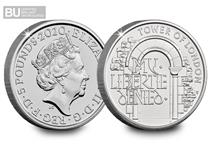 This £5 coin has been issued as part of The Royal Mint's The Tower of London Collection.