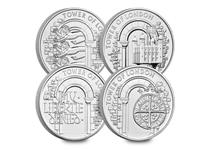 This set includes all four £5 coins issued in The Royal Mint's Tower of London 2020 £5 Series - The White Tower of London £5, The Royal Menagerie £5, The Royal Mint £5 and The Infamous Prison £5.