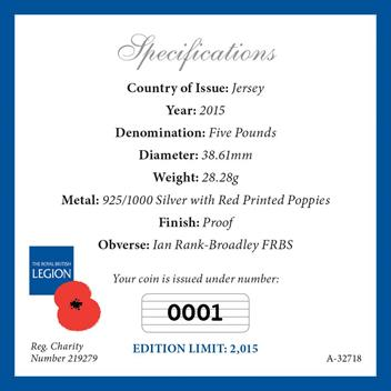 P839 2015 Remembrance Day 2015 Silver 5 Poppy Coin Specifications