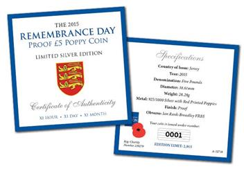 P8392015 Remembrance Day Silver £5 Poppy Coin Specifications certificate.jpg