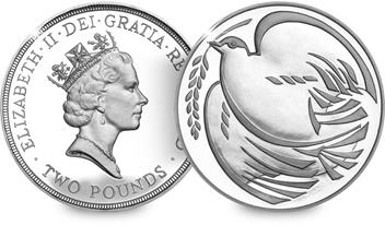 ST 1995 WWII Dove of Peace Silver Proof £2 Coin (Both Sides)