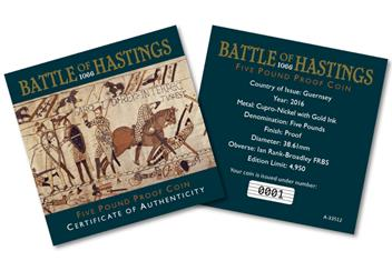 Battle of Hastings CuNi Proof 5 Pounds Coin Certificate