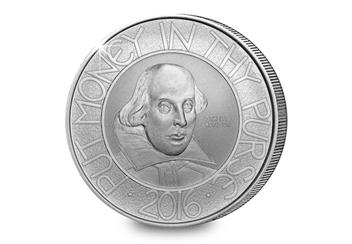 Shakespeare Silver Proof 2 Pound Reverse