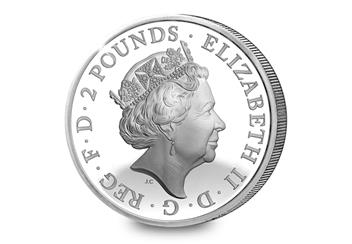 Shakespeare Silver Proof 2 Pound Obverse