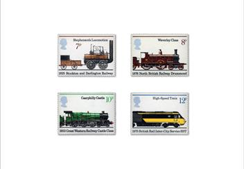 Land Sea and Air Philatelic Book stamps Trains 1
