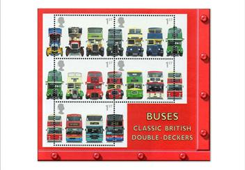 Land Sea and Air Philatelic Book stamps Buses