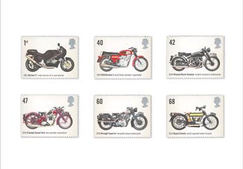 Land Sea and Air Philatelic Book stamps Motorcycles