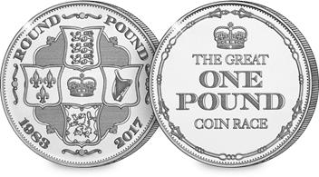 Great One Pound Coin Race Medal (Both Sides) V2
