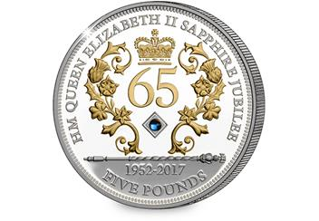 Sapphire Jubilee Jersey Five Pound Silver Coin Reverse