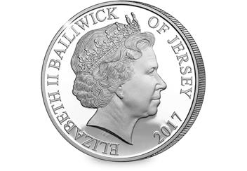 Sapphire Jubilee Jersey Five Pound Silver Coin Obverse