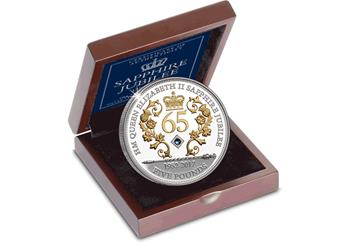 Sapphire Jubilee Jersey Five Pound Silver Coin Box