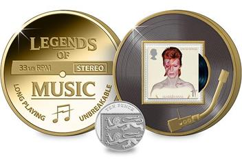 Legends of Music David Bowie Aladdin Sane Philatelic Medal with 10p