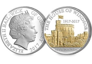 House of Windsor 100th Anniversary £5 Proof Coin Obverse Reverse