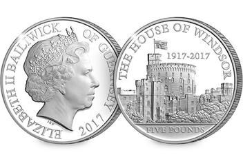 House of Windsor 100th Anniversary £5 Silver Proof Coin Obverse Reverse