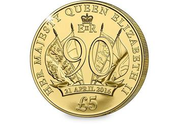 Queens 90th Birthday £5 Coin Reverse