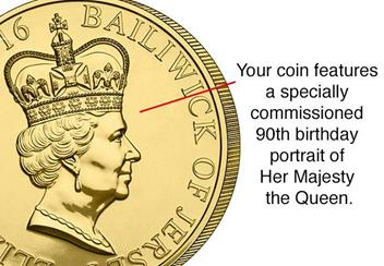 Queens 90th Birthday £5 Coin Portrait