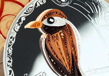 Quilling Art Bird Silver Coin Close Up