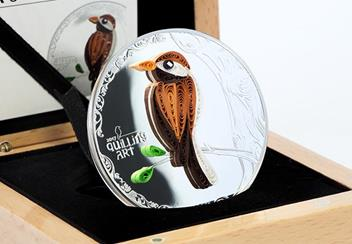 Quilling Art Bird Silver Coin in Display Case