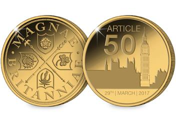 Article 50 Gold-Plated Medal Obverse Reverse