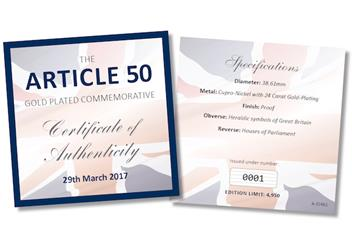 Article 50 Gold-Plated Medal Certificate