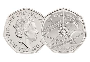 2017 UK Isaac Newton Certified BU 50p (No Logo)