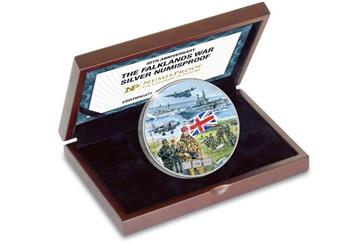 Falklands War Silver NumisProof in Wooden Box