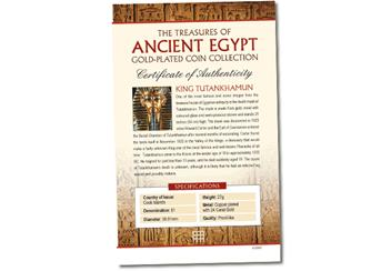 Ancient Egypt Tutankhamun Gold-Plated Coin Certificate