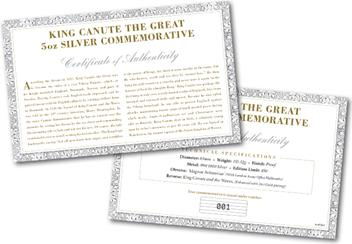 King Canute the Great 5oz Silver Commemorative Certificate