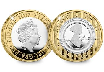 Jane Austen Silver Proof 2 Pound Coin Obverse And Reverse