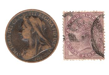 Victoria Coin and Stamp